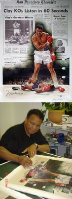 """Doug London Limited Edition Giclee On Canvas Ed. 200 (+20 AP):""""Clay KOs Liston in 60 Seconds"""""""