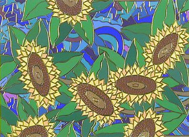 """Echo Handsigned and Numbered Limited Edition :Serigraph on Paper:""""Sunflowers"""""""