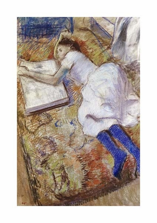 """Edgar Degas Fine Art Open Edition Giclée:""""A Young Girl Stretched Out and Looking at an Album"""""""