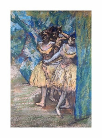"""Edgar Degas Fine Art Open Edition Giclée:""""Three Dancers, with a Backdrop of Trees and Rocks"""""""