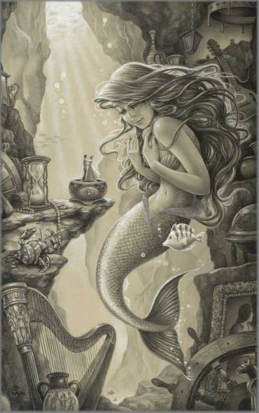 """Edson Campos Hand Signed and Numbered Limited Edition Giclee on Paper:""""Ariel's Treasured Things"""""""