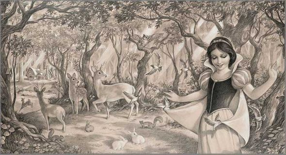 """Edson Campos Hand Signed and Numbered Limited Edition Giclee on Paper:""""Woodland Princess"""""""