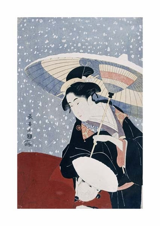 """Eishosai Choki Fine Art Open Edition Giclée:""""A Manservant Clearing the Geta of a Beauty on a Winters Day"""""""