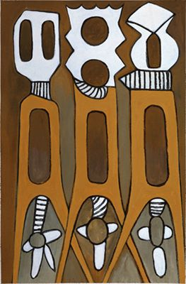 "Ephrem Kouakou Hand Initialed Giclee on Canvas:""Untitled V"""