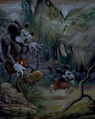 "Ewok Hand Signed and Numbered Limited Edition Disney Gallery Wrap Canvas Giclee:""Prehistoric Mickey """