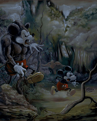 """Ewok Hand Signed and Numbered Limited Edition Disney Gallery Wrap Canvas Giclee:""""Prehistoric Mickey """""""