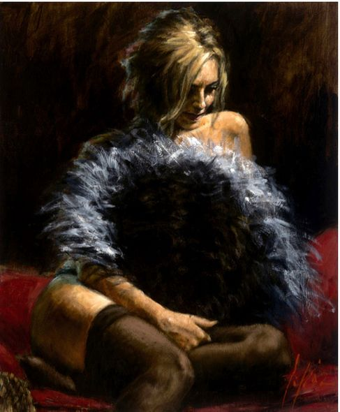 "Fabian Perez Hand Signed and Numbered Limited Edition Giclee on Canvas:""Abanico de Plumas"""