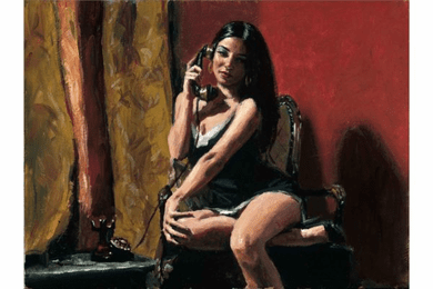 "Fabian Perez Handsigned and Numbered Limited Edition Canvas Giclee:""April in The Red Room"""