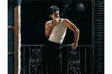 "Fabian Perez Handsigned and Numbered Limited Edition Canvas Giclee:""Cool Breeze and Cigarette"""
