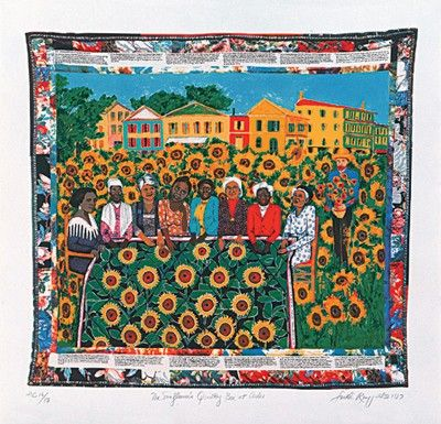 """Faith Ringgold Limited Edition Signed Serigraph Ed. 425:""""The Sunflower's Quilting Bee at Arles"""""""