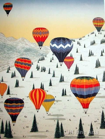 """Fanch Ledan Hand Signed and Numbered Limited Edition Paper Lithograph:""""Ballooning in the Alps"""""""