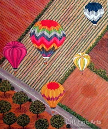"""Fanch Ledan Hand Signed and Numbered Limited Edition Paper Lithograph:""""Ballooning Over Napa"""""""