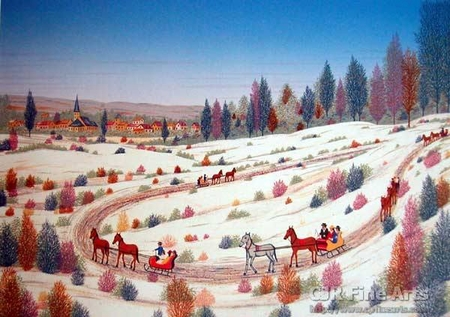 """Fanch Ledan Hand Signed and Numbered Limited Edition Paper Lithograph:""""Country Sleigh Ride"""""""