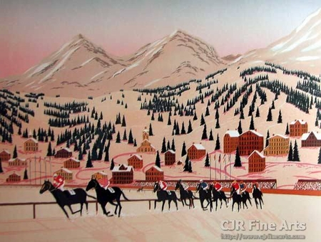 """Fanch Ledan Hand Signed and Numbered Limited Edition Paper Lithograph:""""Horse Racing in St. Moritz"""""""