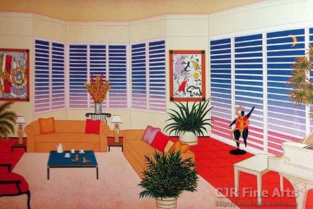 """Fanch Ledan Hand Signed and Numbered Limited Edition Paper Lithograph:""""Interior Leger"""""""