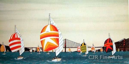 """Fanch Ledan Hand Signed and Numbered Limited Edition Paper Lithograph:""""Spinnakers under Golden Gate Bridge"""""""