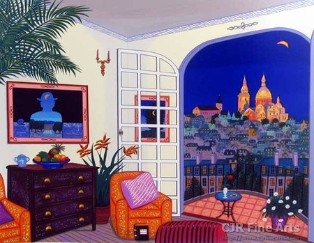 "Fanch Ledan Hand Signed and Numbered Limited Edition Paper Serigraph:""Interior with Magritte"""