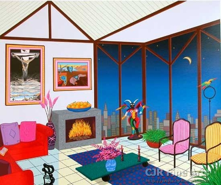 """Fanch Ledan Hand Signed and Numbered Limited Edition Paper Serigraph:""""Interior with Salvador"""""""