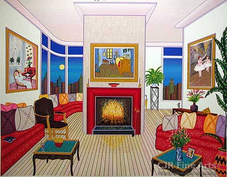 "Fanch Ledan Hand Signed and Numbered Limited Edition Paper Serigraph:""Interior with Van Gogh"""