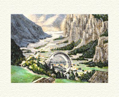 "Fanny Brennan Limited Edition Hand-Crafted Lithograph: "" Bubble in Valley """