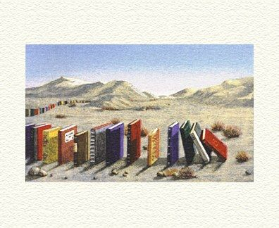 """Fanny Brennan Limited Edition Hand-Crafted Lithograph: """" Domino Books """""""