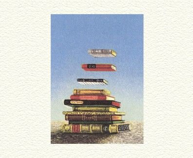 "Fanny Brennan Limited Edition Hand-Crafted Lithograph: "" Floating Books """