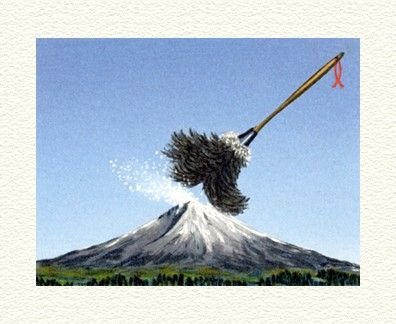 """Fanny Brennan Limited Edition Hand-Crafted Lithograph: """" Fuji Under Siege """""""