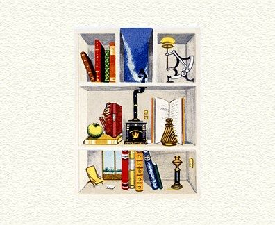 "Fanny Brennan Limited Edition Hand-Crafted Lithograph: "" Nadine's Bookcase """