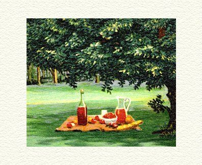 """Fanny Brennan Limited Edition Hand-Crafted Lithograph: """" Picnic """""""