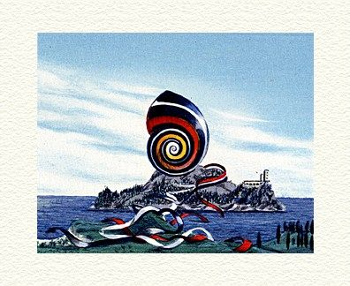 """Fanny Brennan Limited Edition Hand-Crafted Lithograph: """" Ribbon Snail """""""