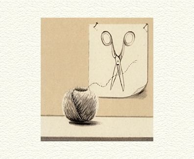 """Fanny Brennan Limited Edition Hand-Crafted Lithograph: """" String and Scissors """""""