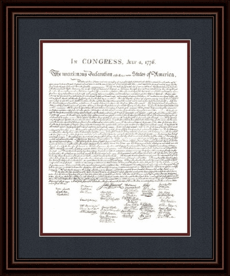 """Founding Fathers Framed Art: """"Declaration of Independence Document"""""""