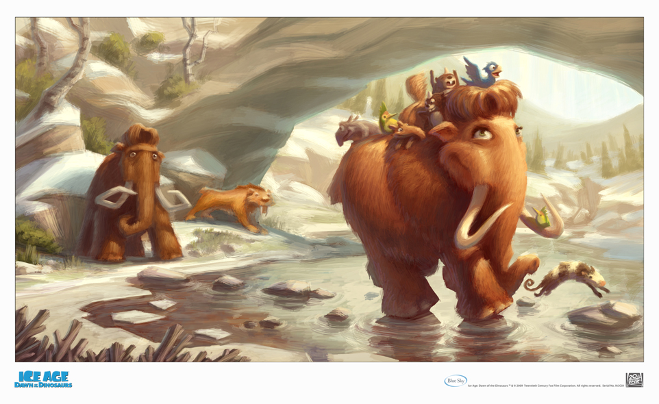 fox studio art ice age 3 giclee on paper ellie with kids ice age 3