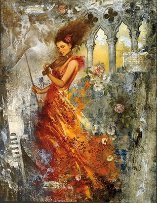 """FranÇois Fressinier Signed And Numbered Limited Edition Hand-pulled Serigraph:""""Melodie Venitienne"""""""