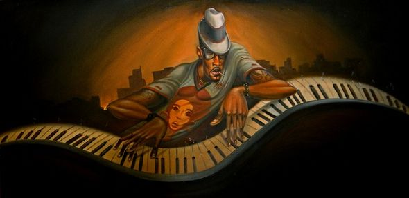 """Frank Morrison Hand Signed and Numbered Limited Edition Canvas Giclee:""""Grand Master Jazz"""""""