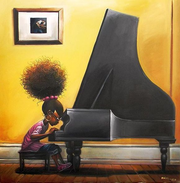 """Frank Morrison Hand Signed and Numbered Limited Edition Giclee on Paper:""""Practice Makes Perfect"""""""