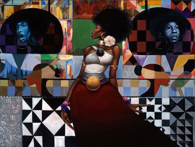 """Frank Morrison Limited Edition Signed Lithograph Ed. 500:""""On the Shoulders of Queens"""""""
