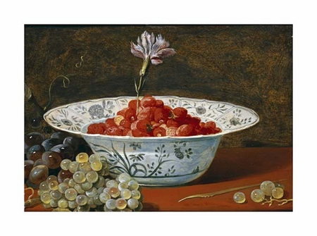 """Frans Snyders Fine Art Open Edition Giclée:""""Strawberries with a Carnation"""""""
