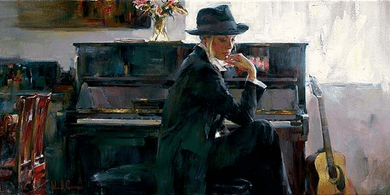 "Garmash Artist Signed Limited Edition Embellished Giclee on Hand-Textured Canvas :""En Vouge """