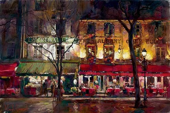 "Garmash Artist Signed Limited Edition Embellished Giclee on Hand-Textured Canvas :""Winter In Paris"""