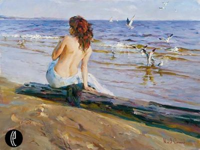 "Garmash Hand-signed and Numbered Limited Edition Embellished Giclee on Hand Textured Canvas:""Beauty by the Shore"""