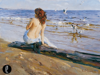"""Garmash Hand-signed and Numbered Limited Edition Embellished Giclee on Hand Textured Canvas:""""Beauty by the Shore"""""""