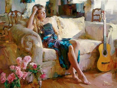 "Garmash Handsigned and Numbered Limited Edition Embellished Giclee on Canvas: ""Music in the Afternoon """