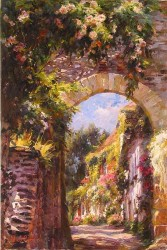 """Garmash Handsigned and Numbered Limited Edition Embellished Giclee on Canvas:""""Old Town"""""""