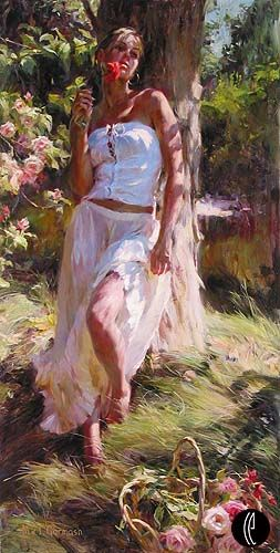 "Garmash Handsigned & Numbered Limited Edition Embelleshed Giclee on Canvas:""Quiet Moment"""
