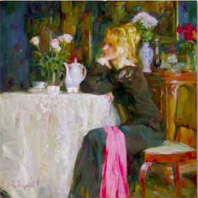 "Garmash Handsigned & Numbered Limited Edition Embellished Giclee on Canvas:""Teatime Daydreams"""