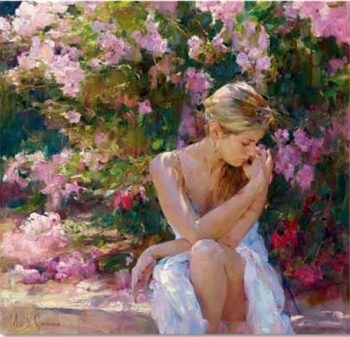"Garmash Handsigned & Numbered Limited Edition Embellished Giclee on Hand Textured Canvas:""Blooming Beauty"""