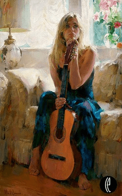 "Garmash Handsigned & Numbered Limited Edition Embellished Giclee on Hand Textured Canvas:""Guitar Play"""