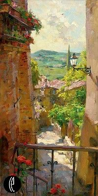 """Garmash Handsigned & Numbered Limited Edition Embellished Giclee on Hand Textured Canvas:""""Heart of the Village"""""""