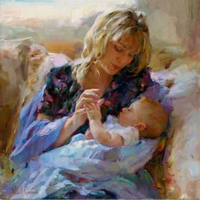 "Garmash Handsigned & Numbered Limited Edition Embellished Giclee on Hand Textured Canvas:""Tender Moment"""